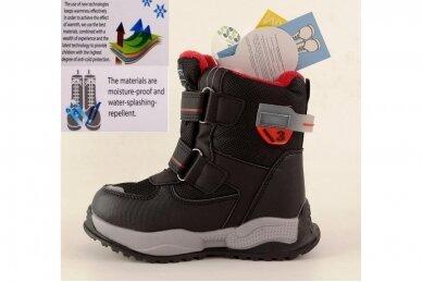 Juodi su lipdukais Tomm žieminiai batai berniukams su vilnos kailiu 9408 3