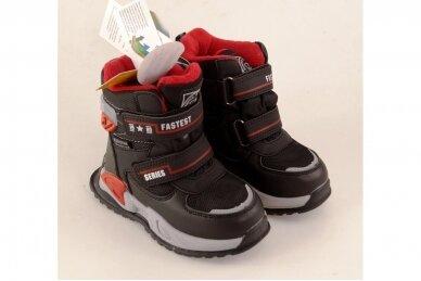 Juodi su lipdukais Tomm žieminiai batai berniukams su vilnos kailiu 9408 4