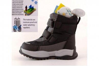Juodi su lipdukais Tomm žieminiai batai berniukams su vilnos kailiu 9418 3