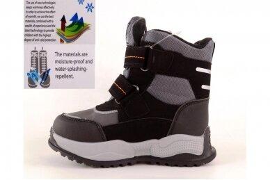 Juodi su lipdukais Tomm žieminiai batai berniukams su vilnos kailiu 9420 3