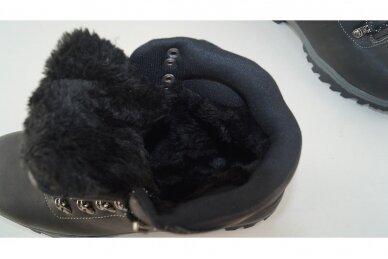 Juodi suvarstomi AxBoxing vyriški žieminiai batai su dirbtiniu kailiu 4