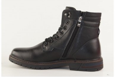 Juodi suvarstomi su užtrauktuku šone aukštesniu aulu klasikiniai žieminiai Meko Melo vyriški batai su kailiu 2