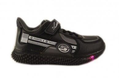 Juodi suvarstyti gumyte su lipuku LED Bessky sportiniai bateliai