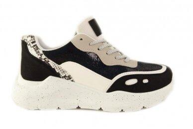 Juodi+blizgantys suvarstomi storu padu moteriški sportiniai batai