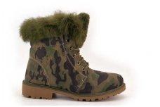 Kamufliažiniai su žaliu kailiuku viršuje suvarstomi žieminiai batai su kailiu 3232k