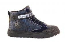 Melsvi suvarstyti gumyte su lipduku ir užtraktuku šone Clibee laisvalaikio batai berniukams