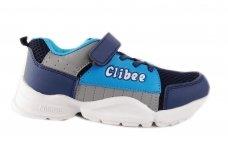 Mėlyni baltu storu padu su lipduku suvarstyti gumyte Clibee sportiniai bateliai berniukams