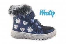 Mėlyni blizgantys užsegami lipdukais su užtrauktuku šone papuošti kailiuku ir širdelėmis žieminiai Weestep aulinukai mergaitėms su vilnos kailiu