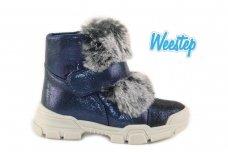 Mėlyni blizgantys užsegami lipdukais su užtrauktuku šone papuošti kailiuku žieminiai Weestep aulinukai mergaitėms su vilnos kailiu 7803