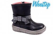 Mėlyni papuošti dirželiu su kniedėmis Weestep žieminiai batai mergaitėms su vilnos kailiu