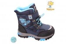 Mėlyni su lipdukais Tomm žieminiai batai berniukams su vilnos kailiu 3857m