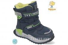Mėlyni su lipdukais Tomm žieminiai batai berniukams su vilnos kailiu 9408