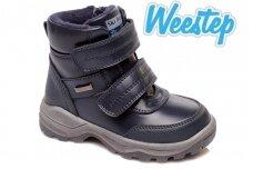 Mėlyni su lipukais ir užtrauktuku šone Weestep žieminiai batai berniukams su vilnos kailiu