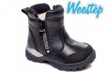 Mėlyni su užtrauktuku šone Weestep žieminiai batai berniukams su vilnos kailiu