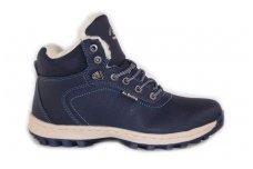 Mėlyni suvarstomi Ax-Boxing vaikiški žieminiai batai su kailiu 7445m