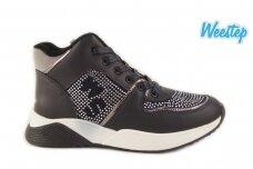 Mėlyni suvarstomi su užtrauktuku šone papuošti stiklinėmis akutėmis Weestep laisvalaikio batai mergaitėms 6416