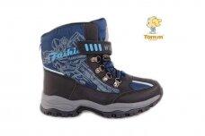 Mėlyni suvarstyti gumyte su lipdukais žieminiai sportiniai Tom.m sniego batai berniukams su vilnos kailiu 3803