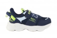 Mėlyni suvarstyti gumyte su lipduku medžiaginiai sportiniai bateliai berniukams