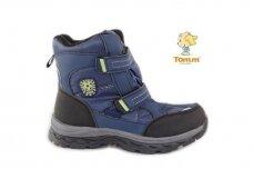 Mėlyni su lipdukais žieminiai sportiniai Tom.m sniego batai berniukams su vilnos kailiu 3677