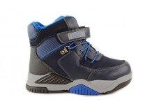 Mėlyni suvarstyti gumyte su lipuku ir užtrauktuku šone vilnos kailiu Tomm žieminiai batai berniukams 7944