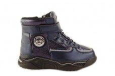 Mėlyni suvarstyti gumyte su lipuku ir užtrauktuku šone vilnos kailiu Tomm žieminiai batai mergaitėms