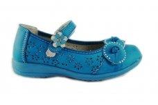 Mėlyni užsegami lipduku papuošti gėlyte batukai mergaitėms
