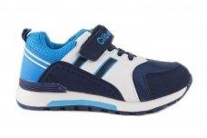 Mėlyni+balti su lipduku suvarstyti gumyte Clibee sportiniai bateliai berniukams 7729