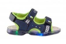 Mėlynos+žalios su lemputėmis atviru priekiu Clibee basutės berniukams 7749