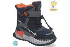 Mėlyni su lipdukais Tomm žieminiai batai berniukams su vilnos kailiu 9409