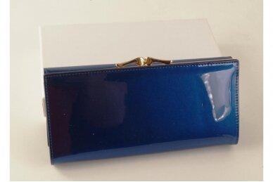Mėlyna lakuota odinė Angela Moretti moteriška piniginė 72031 2