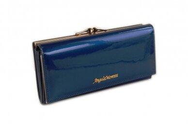 Mėlyna lakuota odinė Angela Moretti moteriška piniginė 72031