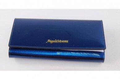 Mėlyna lakuota odinė Angela Moretti moteriška piniginė 72032 4