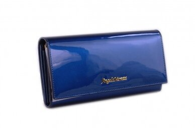 Mėlyna lakuota odinė Angela Moretti moteriška piniginė 72032