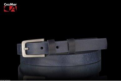 Mėlynas odinis CezMar moteriškas diržas su sagtimi PD-2-99 8536 2