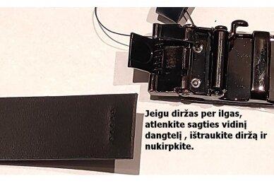 Mėlynas odinis CezMar vyriškas diržas su juoda lakuota automatine sagtimi 8542 3