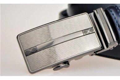 Mėlynas odinis CezMar vyriškas diržas su šviesia automatine sagtimi 8540 4