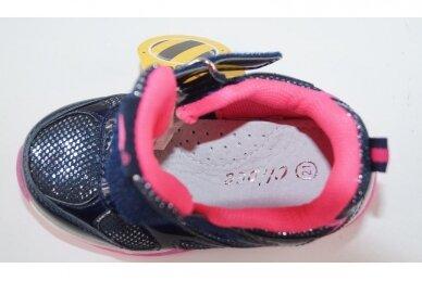 Mėlyni blizgantys su lemputėmis užsegami lipduku suvarstyti gumyte Clibee sportiniai bateliai mergaitėms 4
