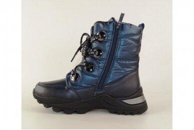 Mėlyni boloninės medžiagos suvarstomi su užtrauktuku šone vilnos kailiu Tomm žieminiai batai mergaitėms 7895 2