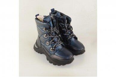 Mėlyni boloninės medžiagos suvarstomi su užtrauktuku šone vilnos kailiu Tomm žieminiai batai mergaitėms 7895 3