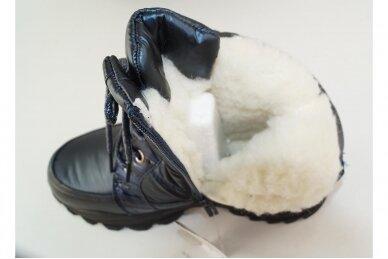 Mėlyni boloninės medžiagos suvarstomi su užtrauktuku šone vilnos kailiu Tomm žieminiai batai mergaitėms 7895 4