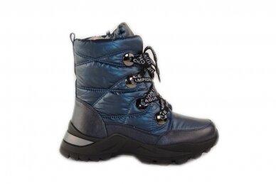 Mėlyni boloninės medžiagos suvarstomi su užtrauktuku šone vilnos kailiu Tomm žieminiai batai mergaitėms 7895