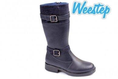 Mėlyni papuošti dirželiais su akutėmis Weestep žieminiai batai mergaitėms su vilnos kailiu
