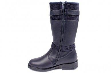 Mėlyni papuošti dirželiais su akutėmis Weestep žieminiai batai mergaitėms su vilnos kailiu 2
