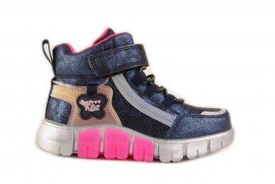 Mėlyni-perlamutriniai suvarstyti gumyte su lipuku ir užtrauktuku šone Clibee  sportiniai aulinukai mergaitėms 8635m
