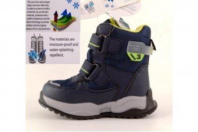 Mėlyni su lipdukais Tomm žieminiai batai berniukams su vilnos kailiu 9408 3