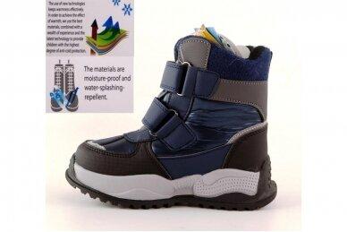 Mėlyni su lipdukais Tomm žieminiai batai berniukams su vilnos kailiu 9417 3