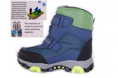 Mėlyni su lipdukais žieminiai sportiniai sniego batai su kailiu berniukams 5092 3