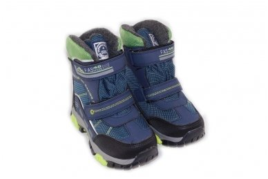 Mėlyni su lipdukais žieminiai sportiniai sniego batai su kailiu berniukams 5092 4