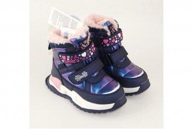 Mėlyni su lipukais Tom.m žieminiai batai su vilnos kailiu mergaitėms 9532 4