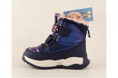 Mėlyni su lipukais Tom.m žieminiai batai su vilnos kailiu mergaitėms 9532 3